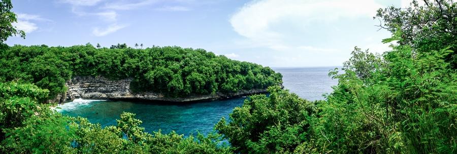 Puyung Beach panorama in Nusa Penida Bali