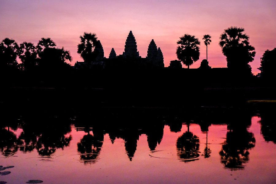 Angkor Wat sunrise and pool reflection