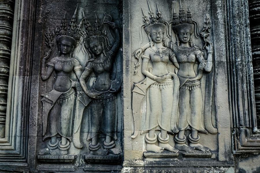 Khmer wall carvings at the Angkor Wat Cambodia