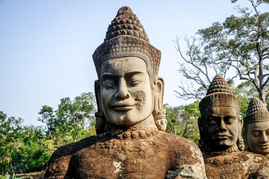 Stone figures on the bridge to Angkor Thom gate