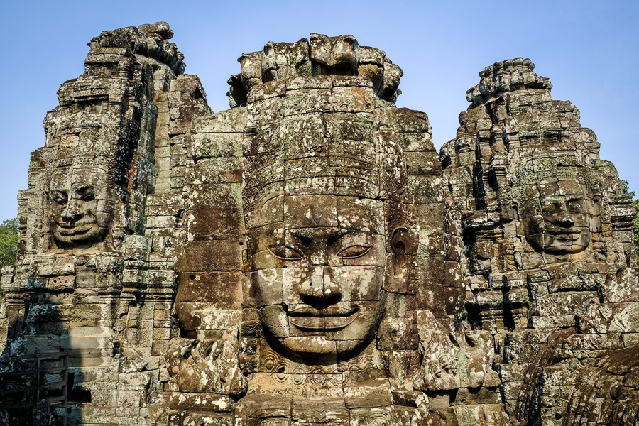 Angkor Wat Cambodia stone faces