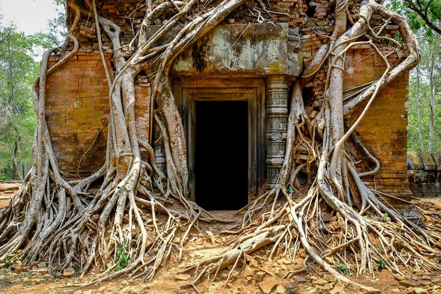 Prasat Pram temple doorway at the Angkor Wat in Cambodia