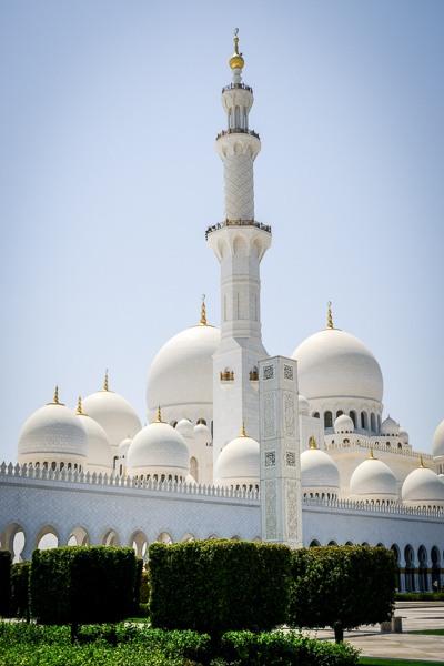 Sheikh Zayed Grand Mosque tower in Abu Dhabi UAE
