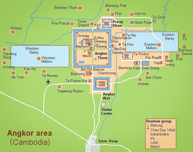 Angkor Wat map from Siem Reap Cambodia