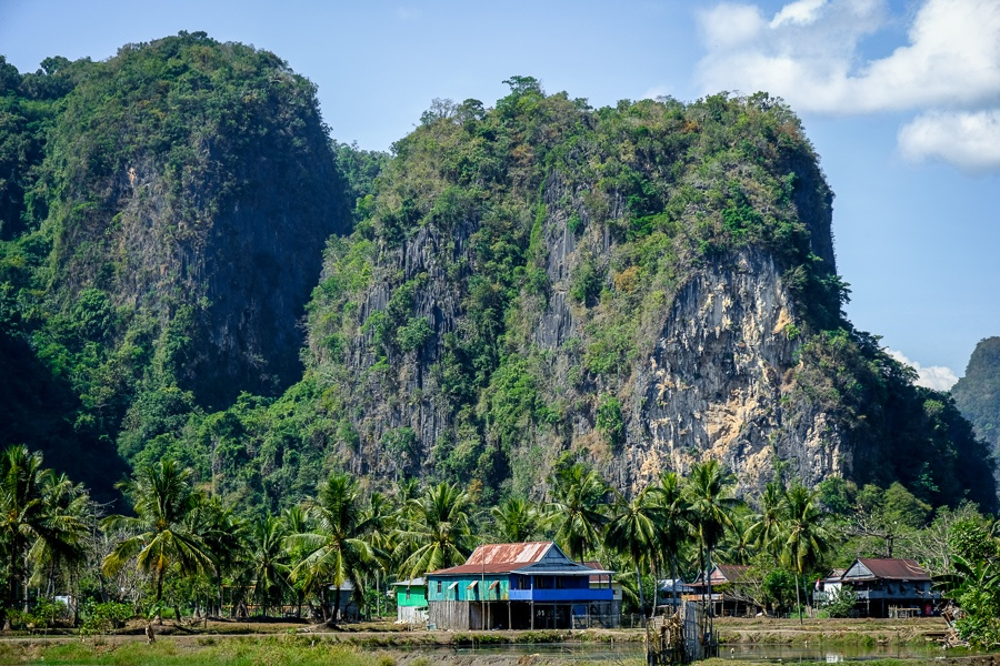 Rammang Rammang Maros mountains in Sulawesi Indonesia