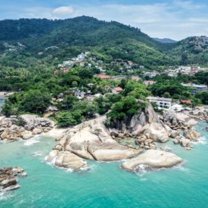 Drone view of Lamai Beach Viewpoint in Koh Samui Thailand