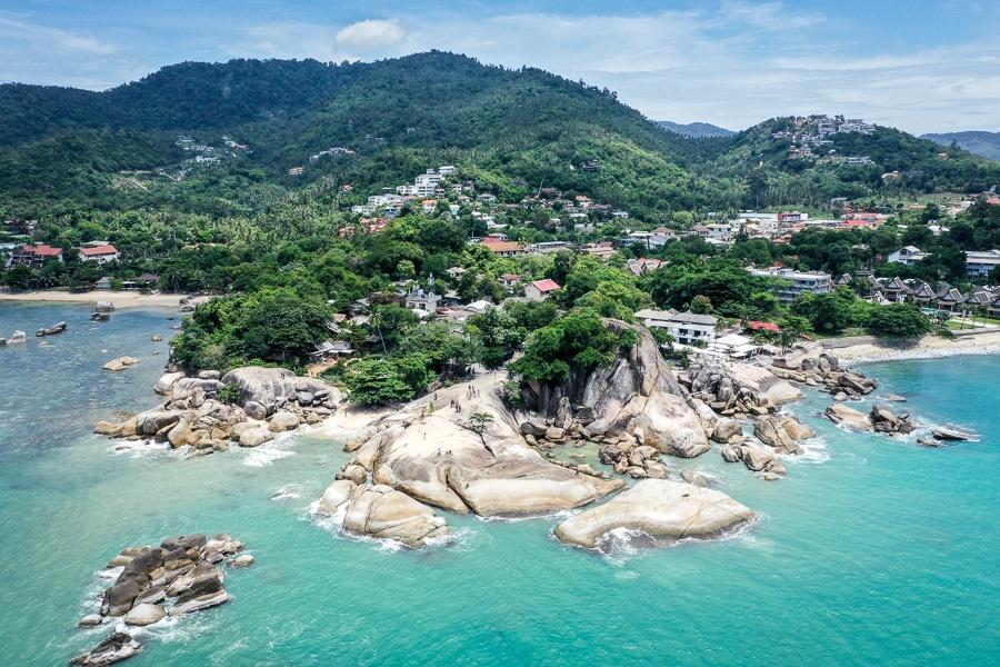 Drone view of Lamai Beach Viewpoint in Koh Samui Thailand