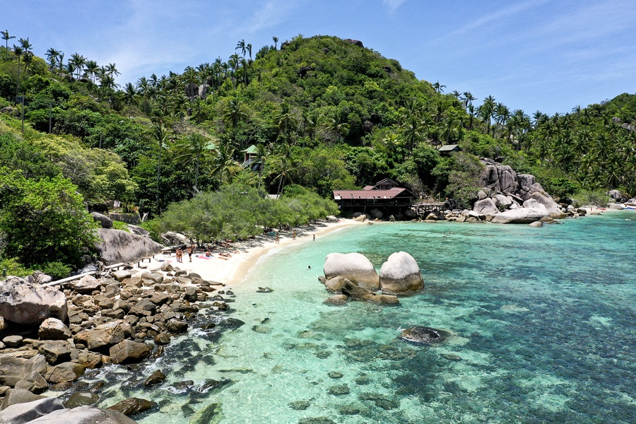 Drone view of Freedom Beach in Koh Tao Thailand