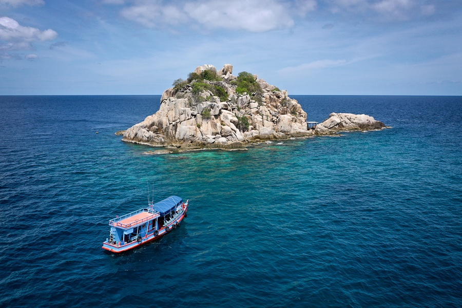 Drone view of Shark Island in Koh Tao Thailand
