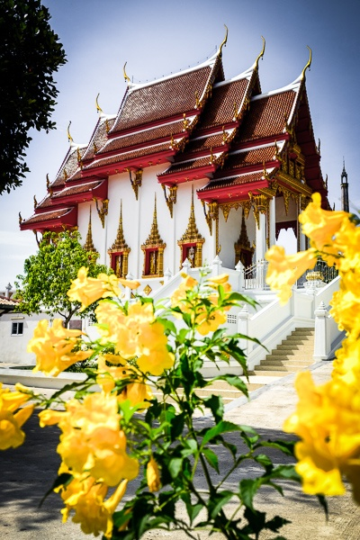 Flowers at Wat Koh Tao Temple in Thailand