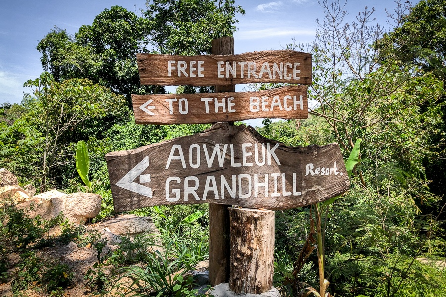 Entrance sign for Ao Leuk beach in Koh Tao Thailand