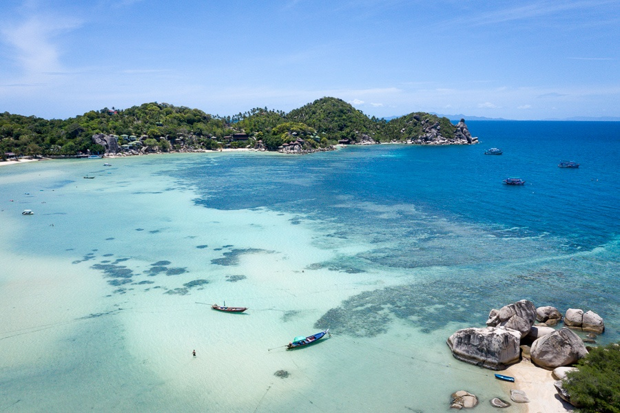 Drone view of Chalok Baan Kao Bay in Koh Tao Thailand