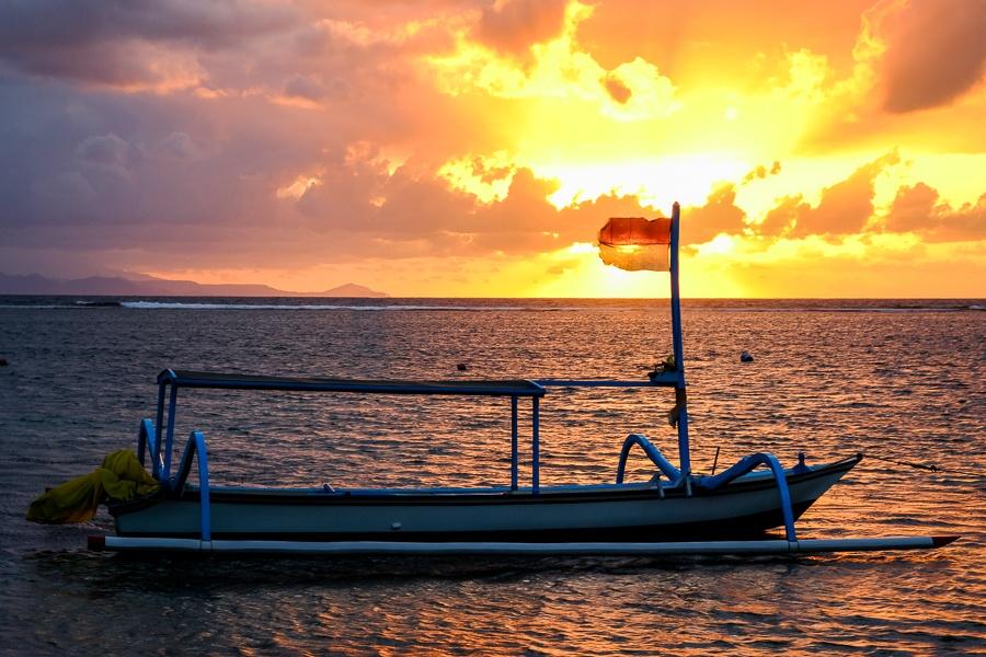 Boat at the Sanur Beach Sunrise in Bali