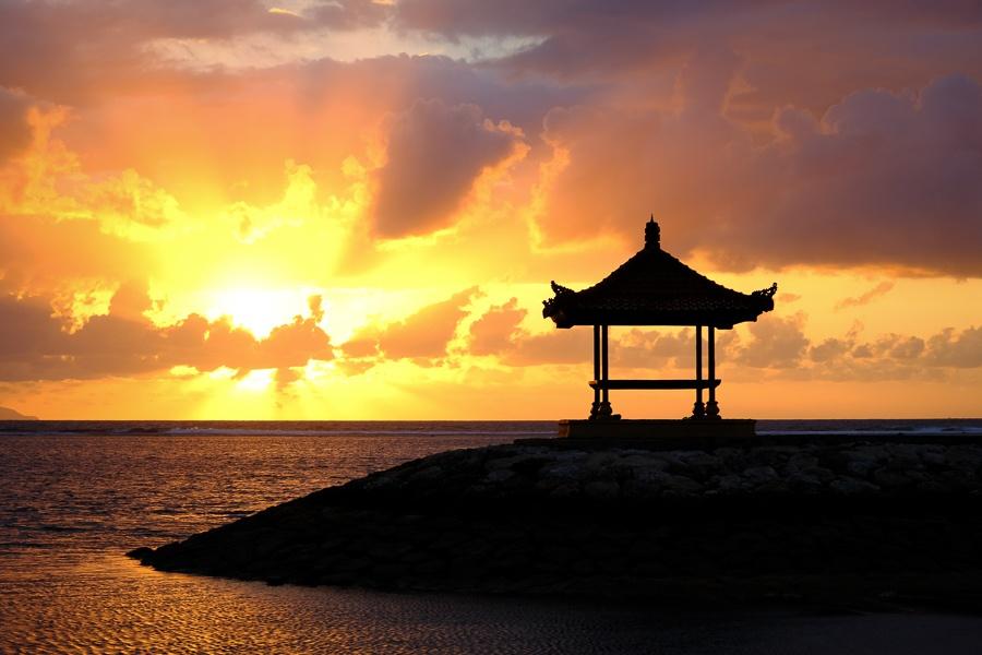 Pagoda at Sanur Beach Sunrise in Bali