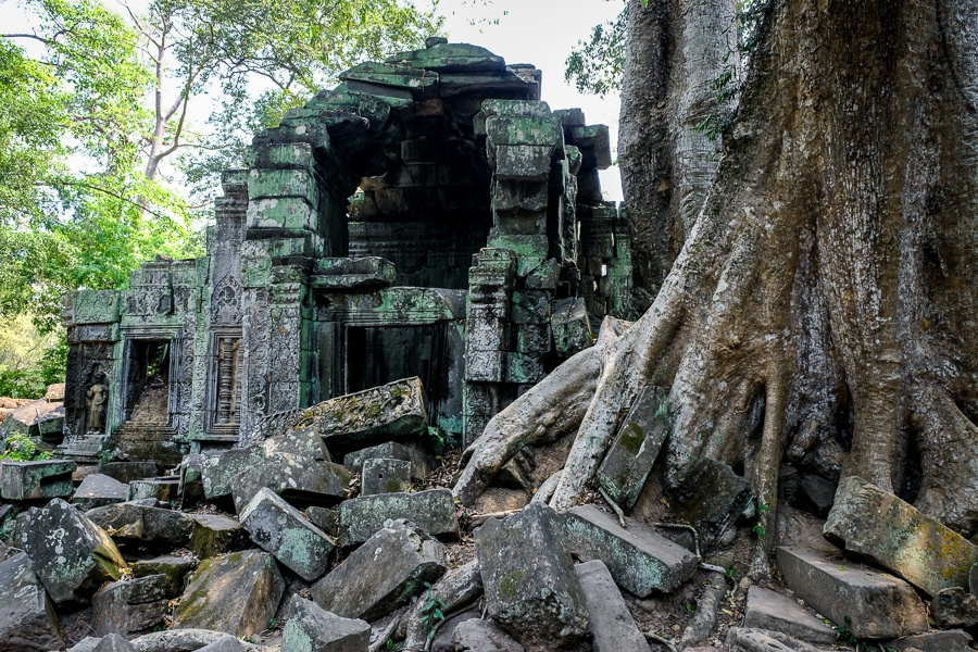 Rubble at the Ta Prohm Temple Ruins in Angkor Wat, Cambodia