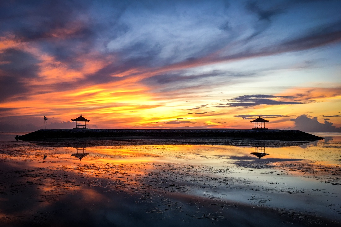 Sanur Beach Sunrise reflection in Bali