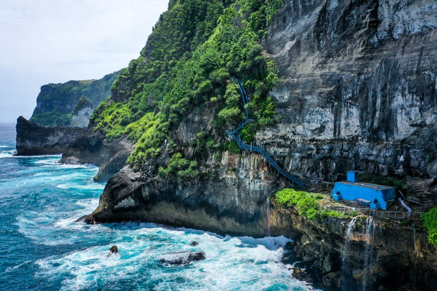Peguyangan Waterfall Nusa Penida Bali Drone Blue Stairs