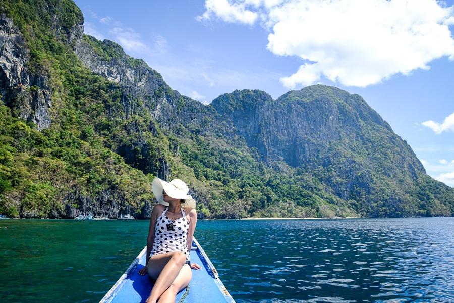 My woman on a boat at Cadlao Island in El Nido, Palawan, Philippines