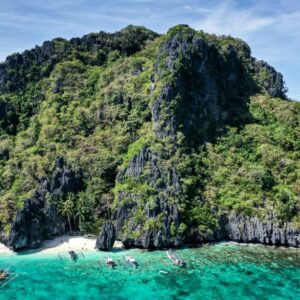 Drone view of Entalula Island in El Nido, Palawan, Philippines