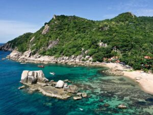 Drone view of Tanote Bay in Koh Tao, Thailand