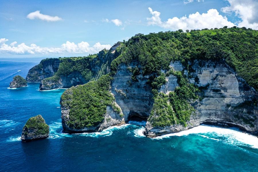 bali drone photography nusa penida cliffs