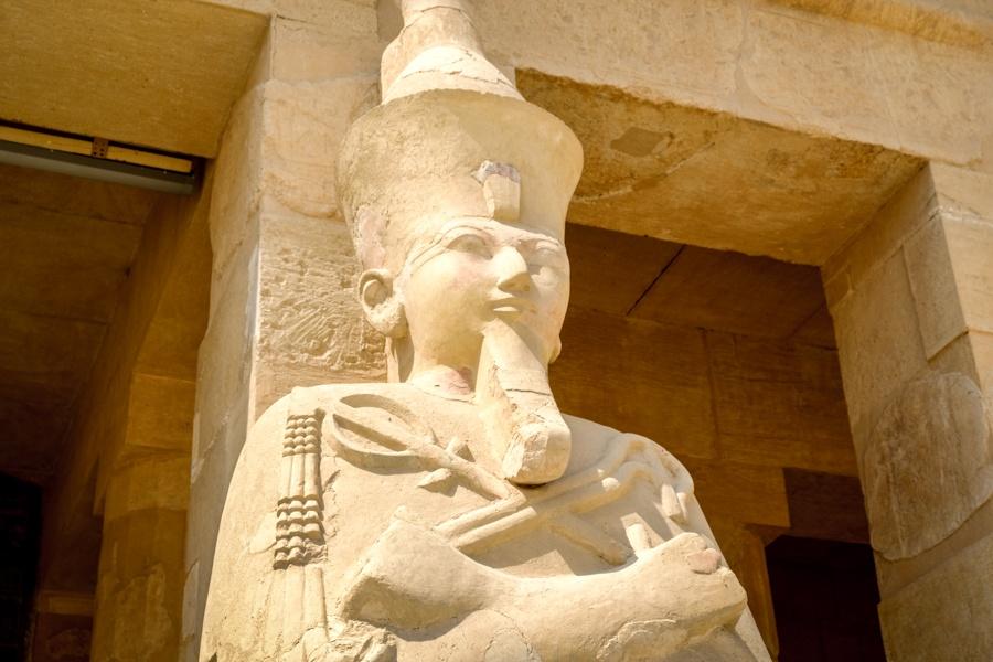 Statue At Queen Hatshepsut Temple Mortuary Temple Of Hatshepsut In Egypt