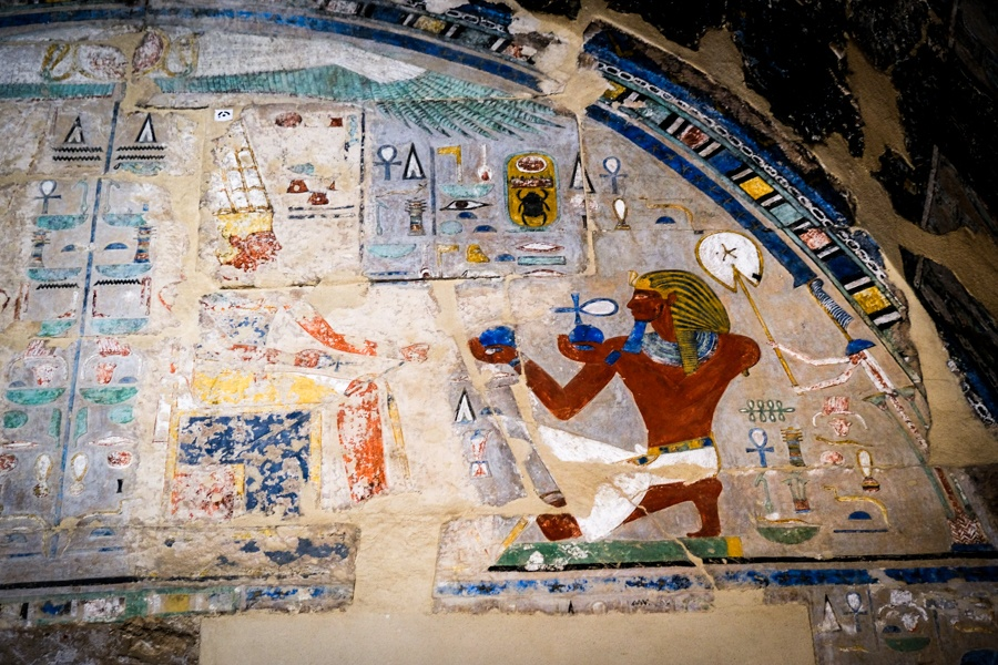 Hieroglyphs At Temple Mortuary Temple Of Hatshepsut In Egypt