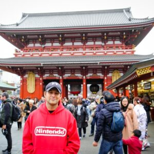 Travel guy at Sensoji Temple in Asakusa, Tokyo, Japan