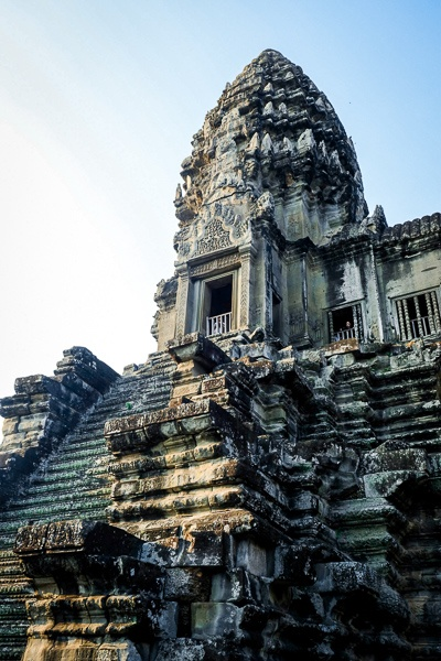 Stairway and tower at the Angkor Wat temple in Cambodia