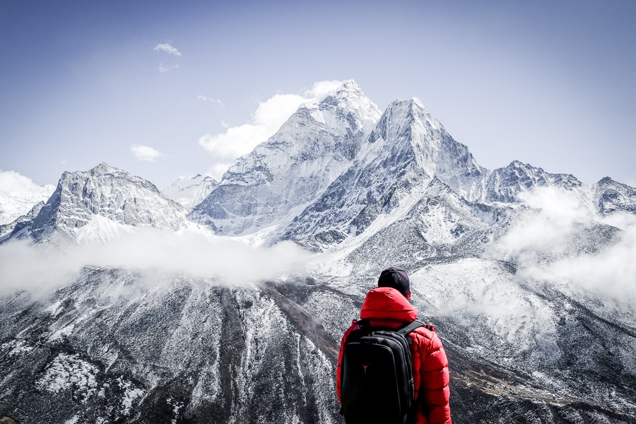 Travel guy at Ama Dablam on the Everest Base Camp Trek in Nepal