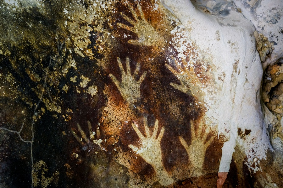 Prehistoric hand prints at Leang Leang cave