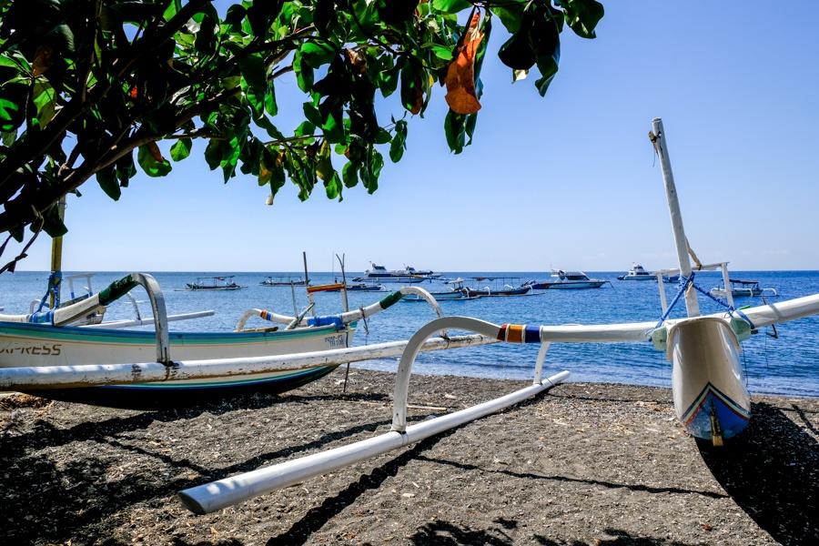 Boats at Jemeluk Beach in Amed, Bali