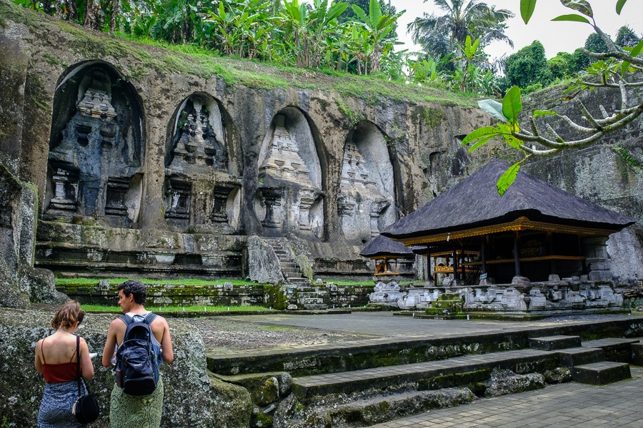 Tourists at the Pura Gunung Kawi Temple ruins in Bali