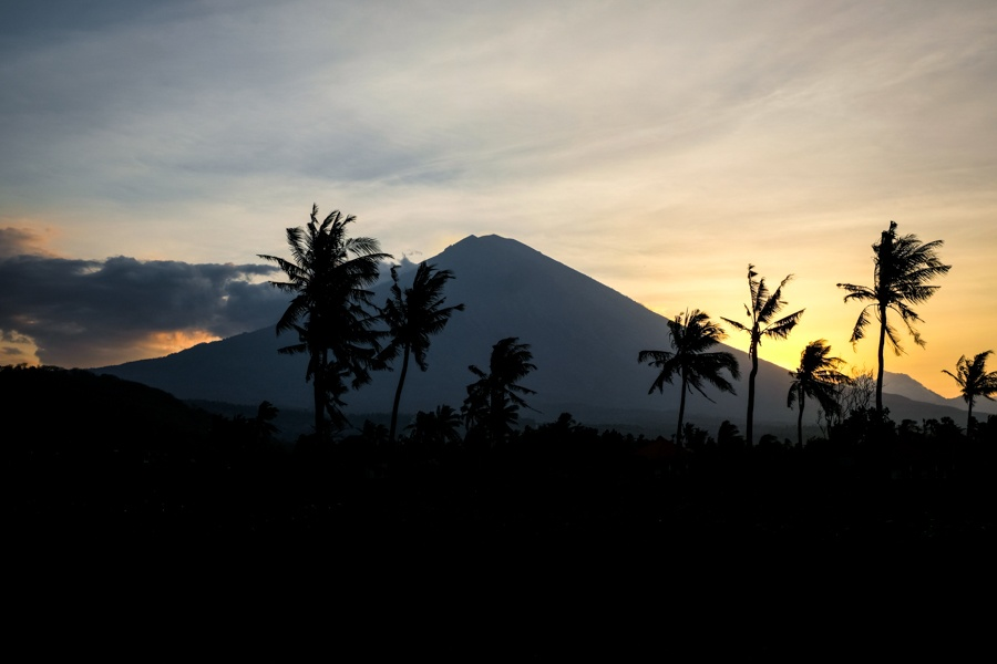Sunset by Mount Agung in Amed, Bali