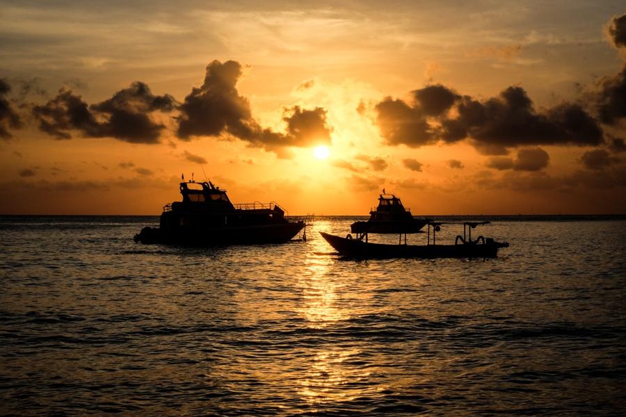 Sunrise at Jemeluk Bay in Amed, Bali