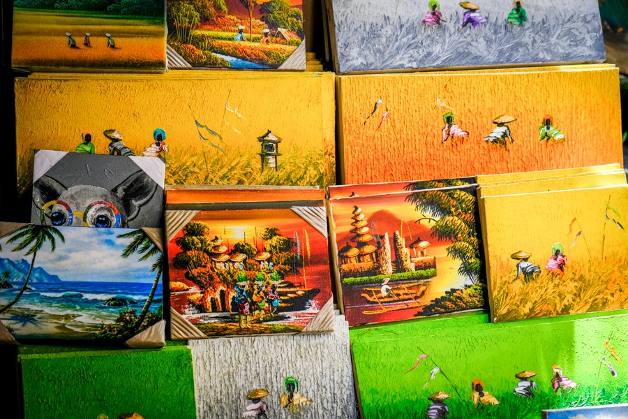 Paintings for sale at the Ubud Market in Bali