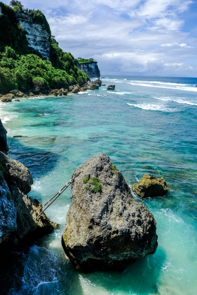 Suluban cliff and rocks view in Bali