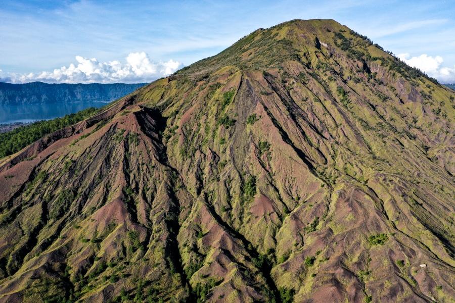 Mount Batur Bali volcano drone picture