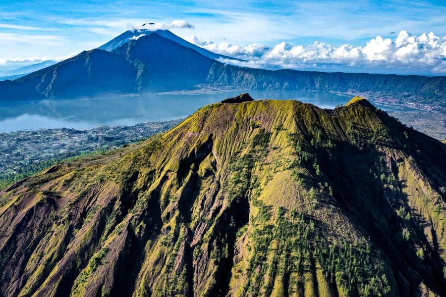 Mount Batur volcano crater rim drone picture