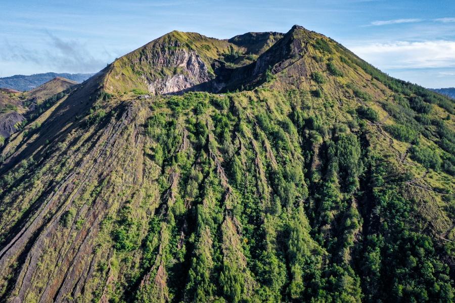 Mount Batur volcano crater drone picture