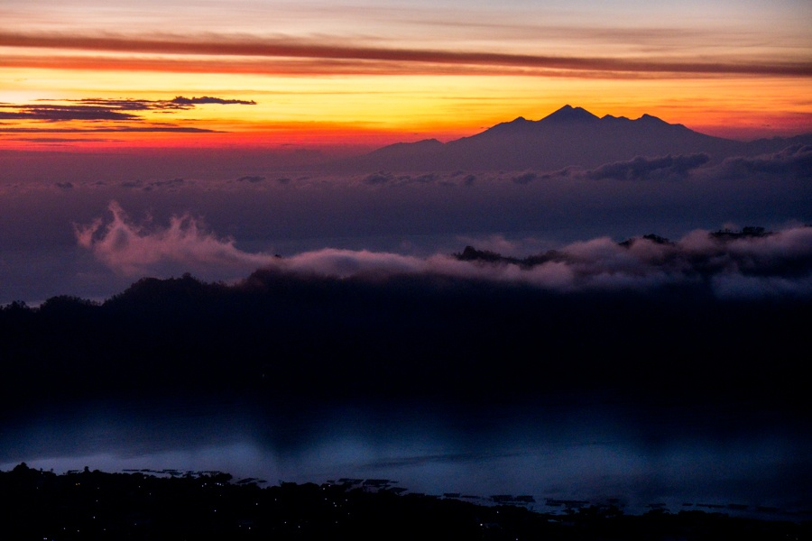 Batur sunrise with Rinjani in Lombok
