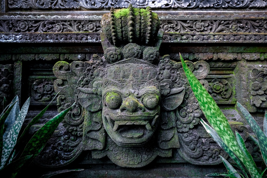 Pura Dalem Ubud Temple carving in Bali
