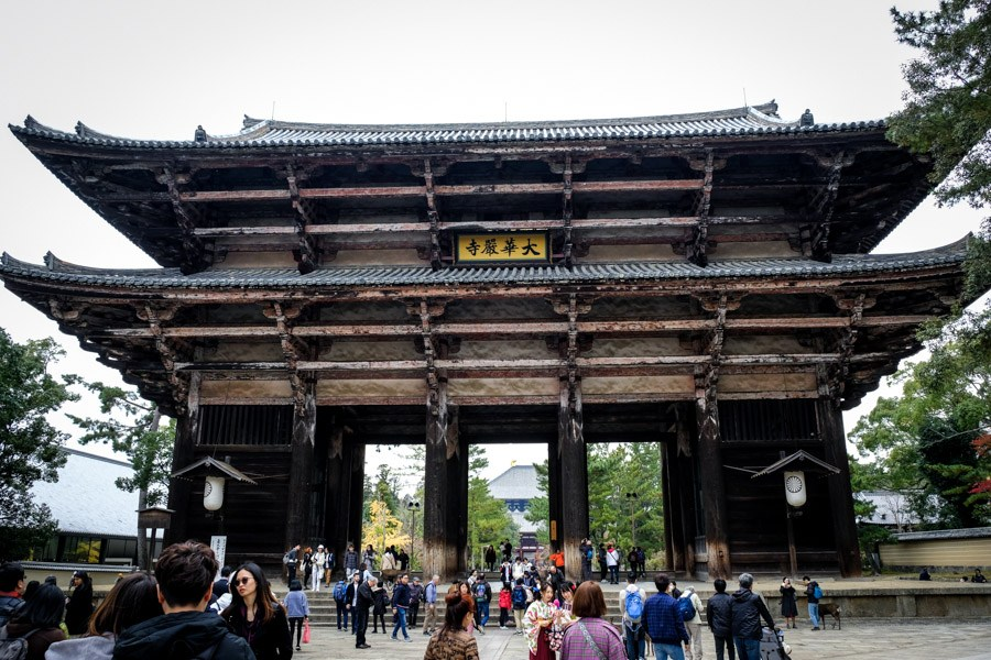 Ancient Todaiji gate in Nara