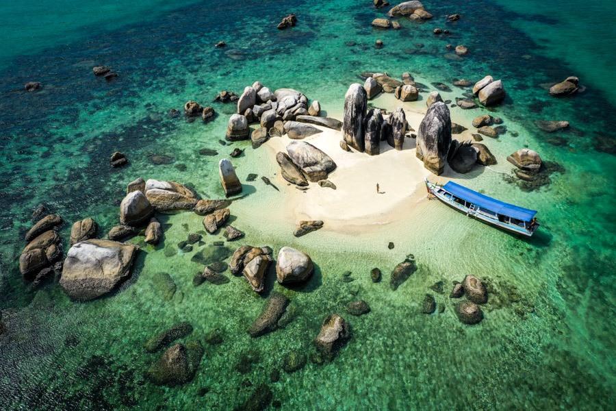 Drone pic of Batu Berlayar island in Belitung Indonesia