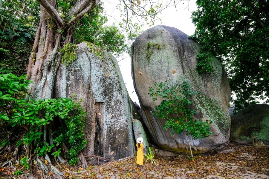 Trees and boulders at Tanjung Tinggi In Belitung Indonesia
