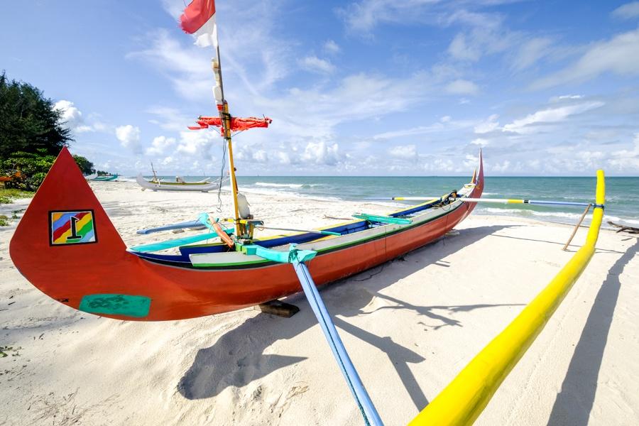 Traditional boat at Pantai Serdang Beach in Belitung