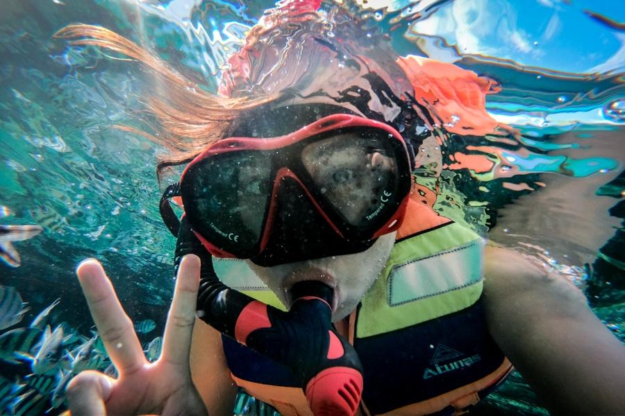 Belitung island snorkeler in Indonesia