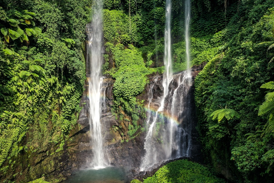 bali drone photography sekumpul waterfall