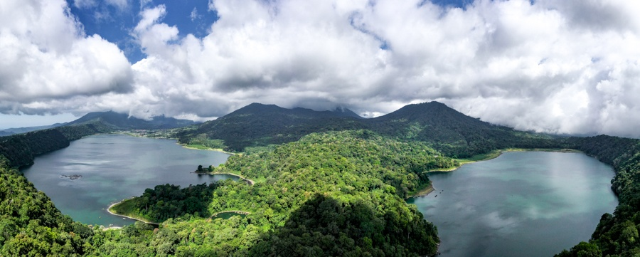 Drone view of Munduk twin lakes viewpoint in Bali