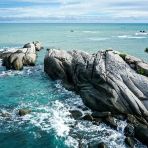 Drone view of Pantai Penyabong Beach in Belitung